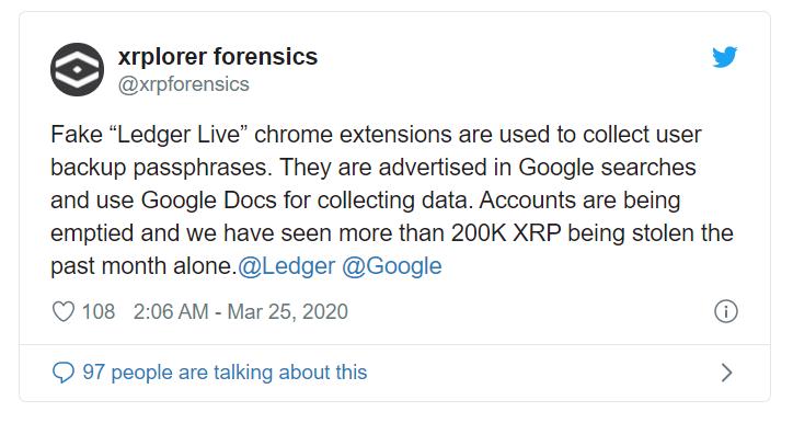 谷歌扩展程序冒用Ledger官方身份,140万XRP已被盗-币安资讯网
