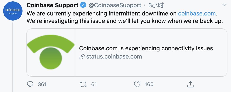 比特币突破10000美元,Coinbase准点掉线