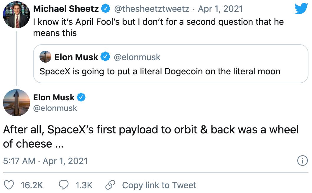 真·狗狗币登月!马斯克称将用SpaceX把狗狗币送上月球