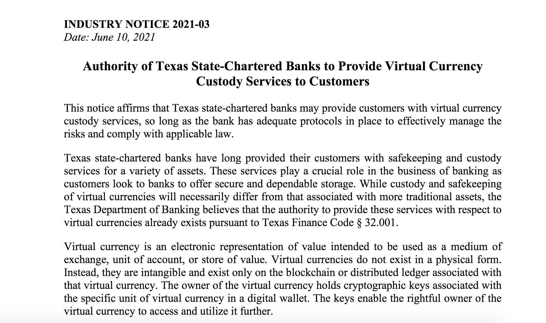 德州快人一步!正式允许州特许银行托管加密货币