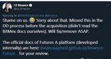 BitMEX指責幣安抄襲其文檔 趙長鵬:沒讀過