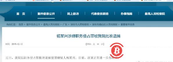财新:神马矿机创始人杨作兴被捕,案由为涉嫌职务侵占十万元