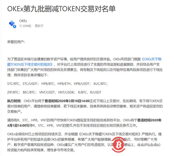 OKEx将于3月16日14:00下线第九批交易对-币安资讯网