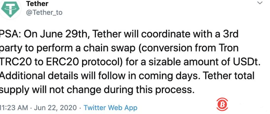 Tether计划将一定数量USDT从TRC 20转移至ERC 20协议