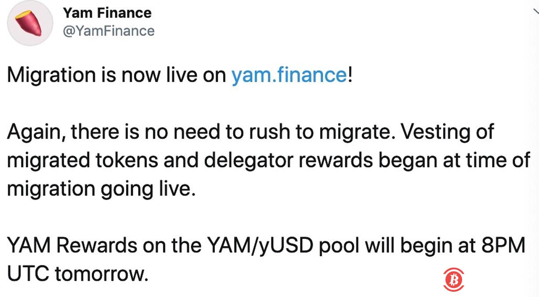 Yam Finance宣布已开始进行迁移