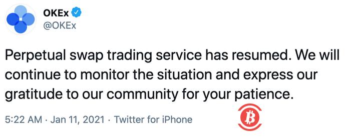 OKEx:永续合约交易服务已恢复