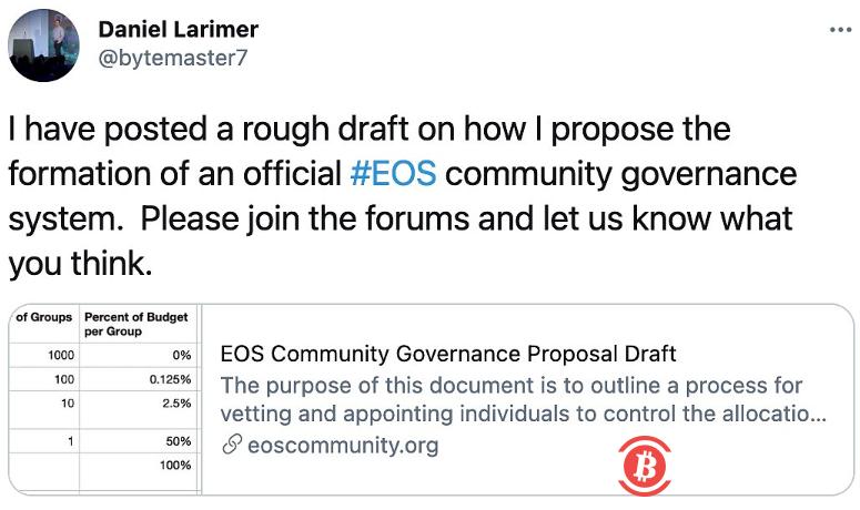 BM发布EOS社区治理提案草案-币安资讯网