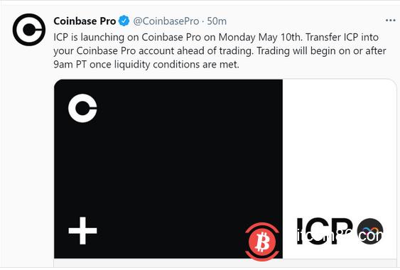 Coinbase宣布将于5月10日上线ICP