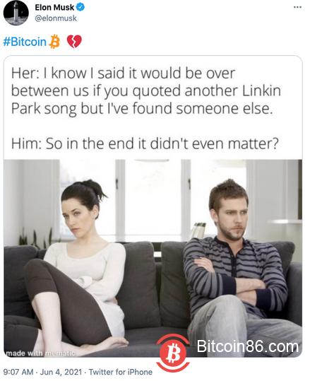 """马斯克发布推文:比特币标签配上""""心碎""""表情"""