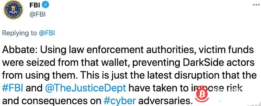 FBI已没收Darkside钱包中的虚拟货币