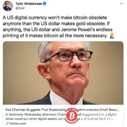 Tyler Winklevoss:美国的数字货币不会让比特币过时