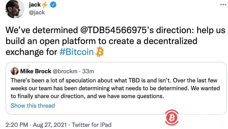 推特CEO:计划为比特币创建去中心化交易所