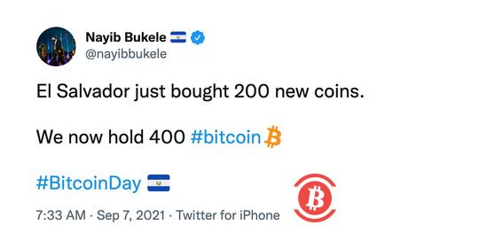 萨尔瓦多今日正式将比特币列为法定货币,已购买首批400个比特币