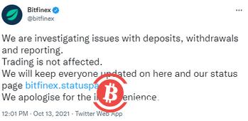 Bitfinex正调查存取款问题